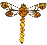 Cozmos Brooches BALTIC AMBER AND STERLING SILVER 925 DESIGNER COGNAC DRAGONFLY BROOCH PIN JEWELLERY JEWELRY