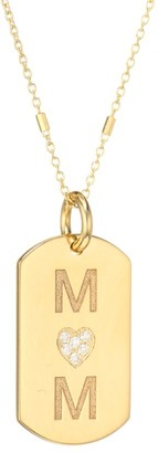 Zoë Chicco Small 14K Yellow Gold & Diamond Mom Dog Tag Pendant Necklace