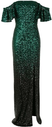 Marchesa Ombre Sequin Column Gown