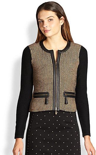 Nanette Lepore Merino Wool/Leather Trinket Cardigan