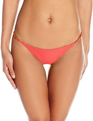 Sauvage Women's Solid Lotus Chain Full Bikini Bottom