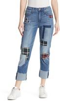 Seven7 Patchwork High Rise Slim Straight Leg Jeans