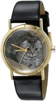 Whimsical Watches Kids' P0120031 Classic Scottish Fold Cat Black Leather And Goldtone Photo Watch
