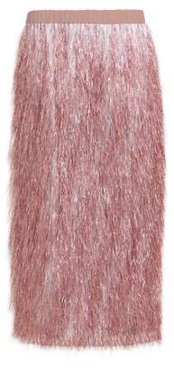 Raey Elasticated-waist Tinsel Midi Skirt - Womens - Pink