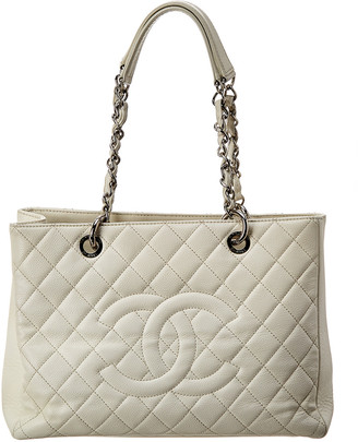 Chanel White Caviar Leather Grand Shopping Tote