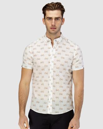 Brooksfield Bicycle Print Short Sleeve Casual Shirt