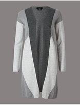 M&S Collection Pure Cashmere Colour Block Longline Cardigan
