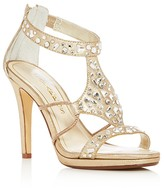 Caparros Emilie Jeweled Metallic High Heel Sandals