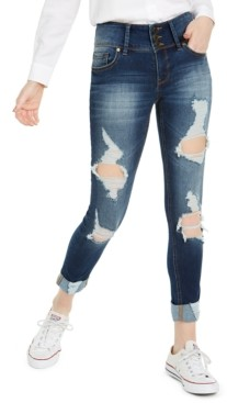 Indigo Rein Juniors' High-Waisted Triple-Button Ripped Skinny Jeans