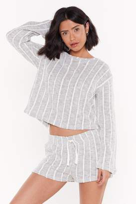 Nasty Gal Womens I Like How Knit Feels Striped Tie Jumper And Shorts Set - Grey - 6, Grey