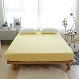 BuLuTu Cotton Premium Deep Pocket Solid Fitted Bed Sheet Queen Yellow-Breathable, Durable and Comfortable,Single Fitted Sheet Without Pillowcases
