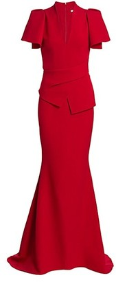 Safiyaa Mirama Heavy Crepe Peplum Mermaid Gown