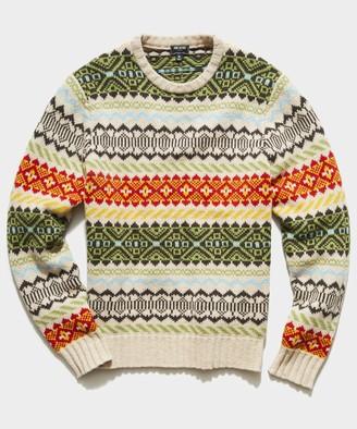 Todd Snyder Stripe Faire Isle Crew Sweater in Cream