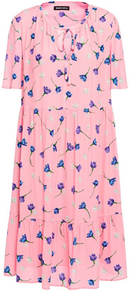 Markus Lupfer Gathered Floral-print Crepe Dress