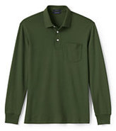 Lands' End Men's Long Sleeve Supima Pocket Polo Shirt-Boreal Moss