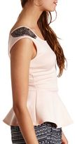 Charlotte Russe Beaded Shoulder Cap Sleeve Peplum Top