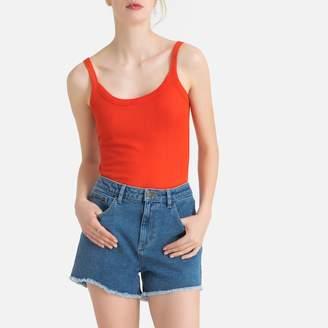 La Redoute Collections Plain Vest Top with Shoestring Straps