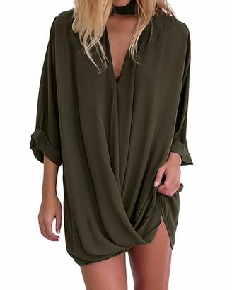 Auxo Women Chiffon Long Shirt V Neck Wrap 3/4 Sleeve Oversized Solid Mini Dress Tunic Blouse Top Black Size M/UK 10-12