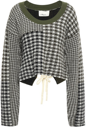 3.1 Phillip Lim Lace-up Patchwork-effect Gingham Knitted Sweater