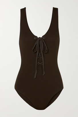 Ganni Lace-up Ribbed Swimsuit - Brown
