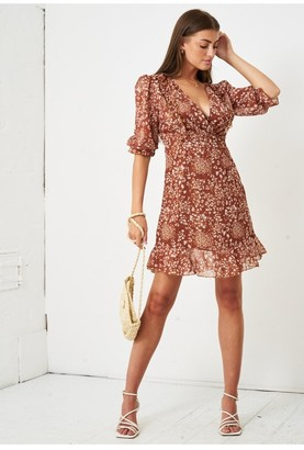 Love Frontrow Ditsy Floral Print Short Sleeve Mini Dress | Brown