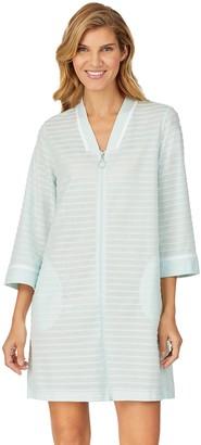 Stan Herman Women's Textured Stripe Zip-Up Robe
