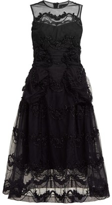 Simone Rocha Tinsel-embroidered Tulle Midi Dress - Womens - Black
