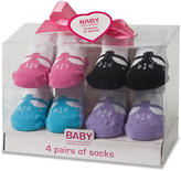 Baby Essentials Girls 4 Pack Sock Set - T-Strap