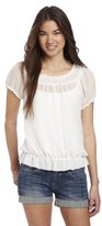 Amy Byer A. Byer Juniors Short Sleeve Top With Shirred Neckband