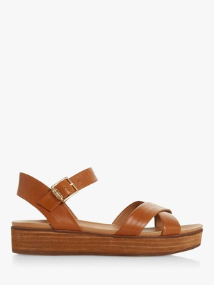 Dune Koby Leather Cross Strap Flatform Sandals