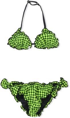 Mc2 Saint Barth Kids Check Print Bikini