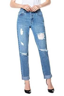 Rainbow Women Frayed Jeans Distressed Boyfriend Frayed Relaxed Denim Pants