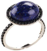 RARITIES Sterling Silver Lapis Sapphire Round Solitaire Ring Sz 7