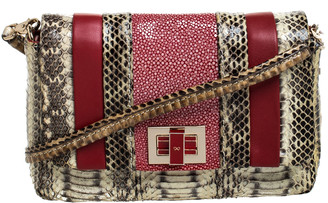 Anya Hindmarch Red/Cream Python, Leather and Stingray Stripy Gracie Flap Bag