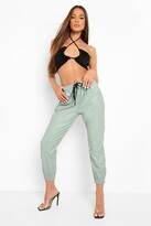 Thumbnail for your product : boohoo Leather Look Relaxed Fit Joggers