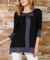 Celeste Black & Charcoal Bow-Neck Three-Quarter Sleeve Tunic