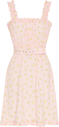 Faithfull The Brand Belted Ruffled Floral-Print Crepe Mini Dress
