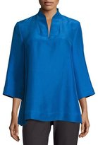 Eileen Fisher 3/4-Sleeve High-Collar Doupioni Silk Blouse, Plus Size