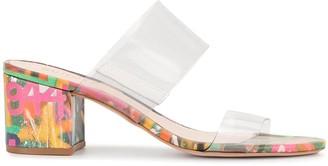 Schutz grafitti print vinyl strap sandals