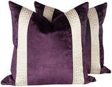 One Kings Lane Vintage Plum Velvet Greek Key Pillows
