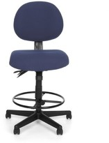 Ofm 24 Hour Mid-Back Drafting Chair OFM Upholstery Color: Blue Fabric, Arms: Not Included