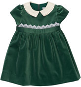 Florence Eiseman Cap-Sleeve Collared Velvet Dress, Green, 3-18 Months