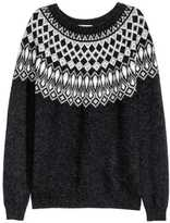 H&M Jacquard-knit Sweater - Dark gray/patterned - Ladies