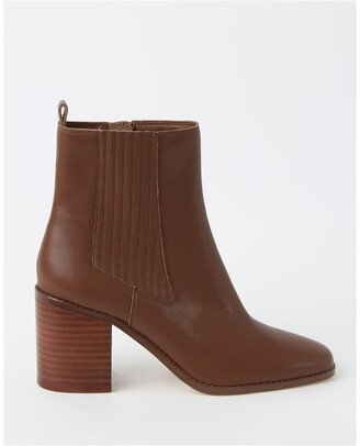 Piper Humble Dark Tan Heeled Ankle Boot