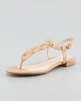 Pour La Victoire Enora Woven-T-Strap Thong Sandal, Camel