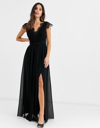 Little Mistress lace detail maxi dress-Black