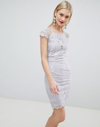 Lipsy lace embroidered bodycon dress-Grey