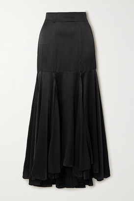 TOVE Aster Silk-crepon Midi Skirt - Black