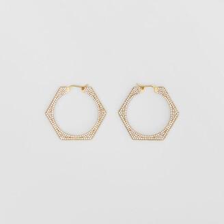 Burberry Crystal Detail Gold-plated Nut Hoop Earrings