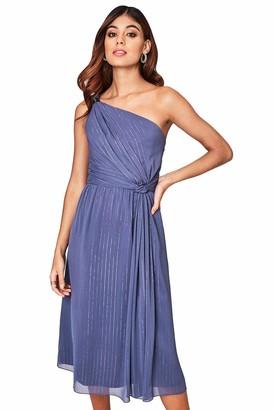 Little Mistress Anais Lavender Grey Ring Detail Midi Dress 8 UK Lavender Grey
